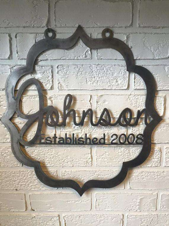 Custom Wedding Anniversary Metal Art Monogram