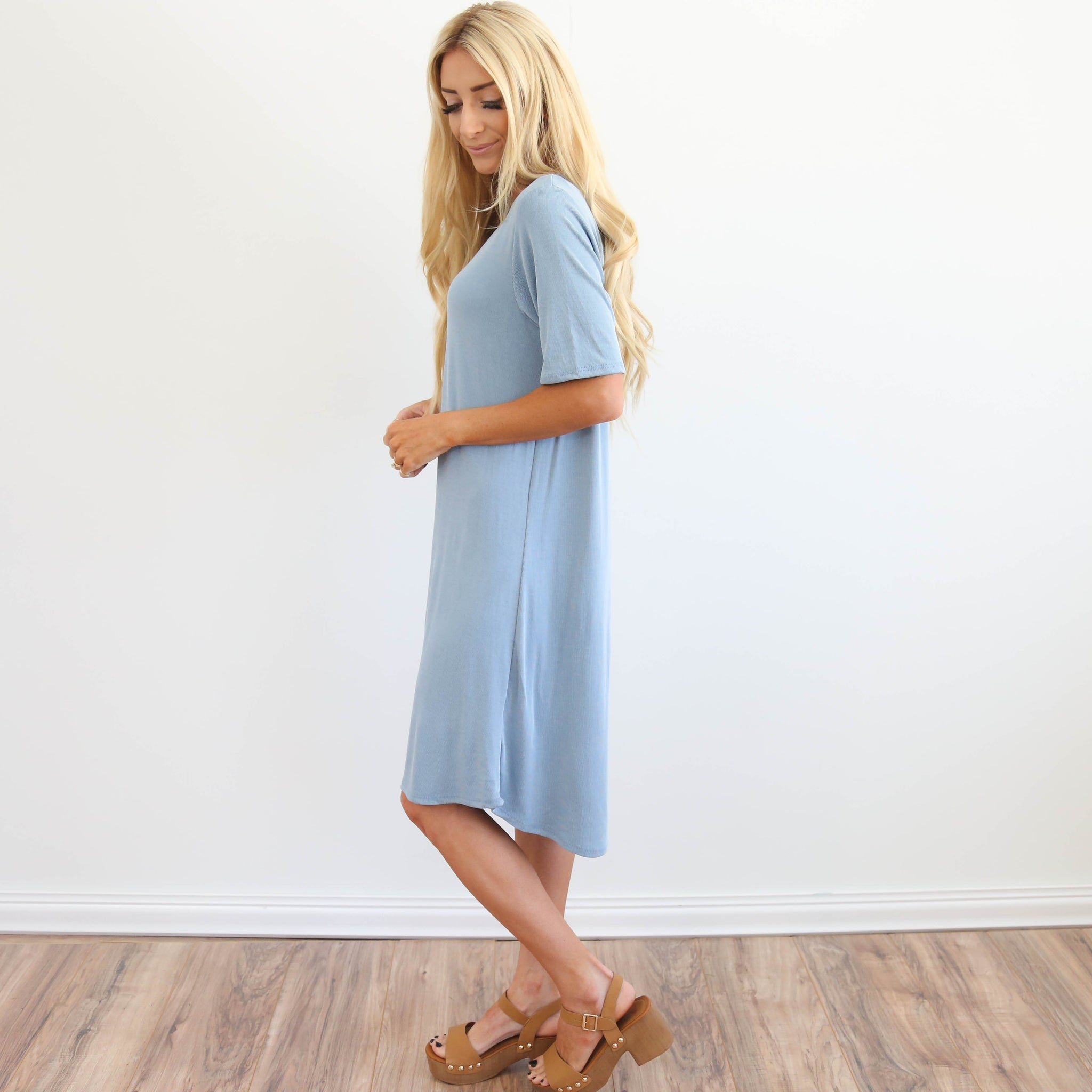 Solana Dress in Dusty Blue
