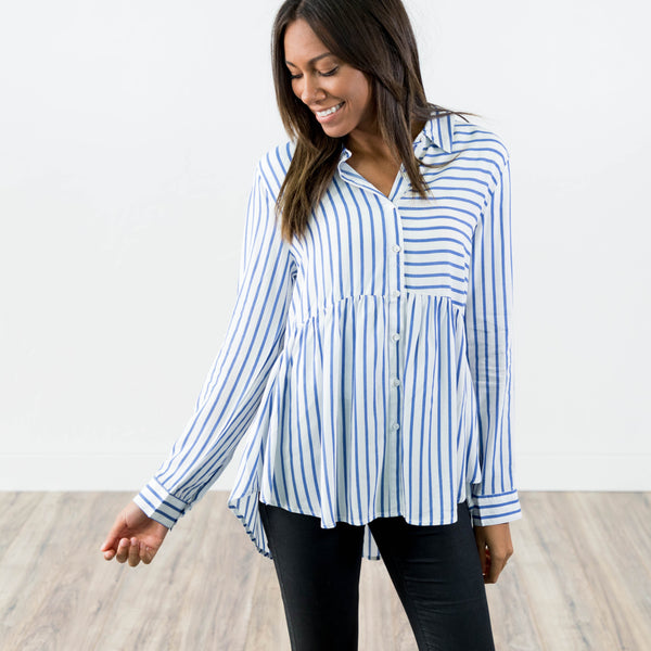 Alyse Stripe Button Up in Light Blue