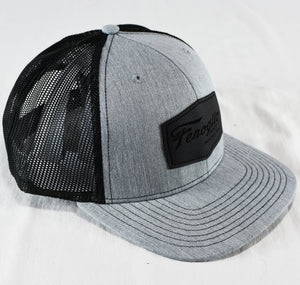 Gray with Black Mesh Leather Patch Hat