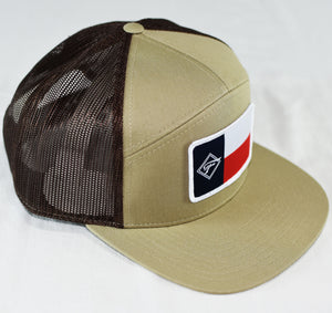 Tan Diamond F Flag Flat Bill Hat