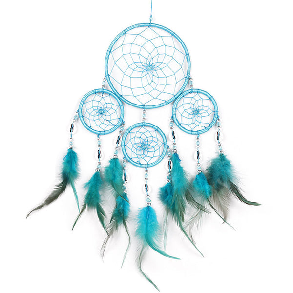 Handmade Lake Blue Feathers Dream Catcher