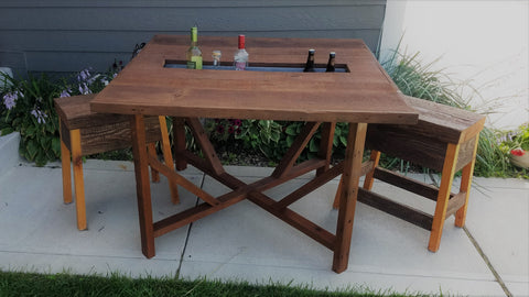 Custom Patio Table with drink trough