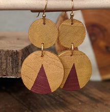 Circle Wood Earrings, Double Hung