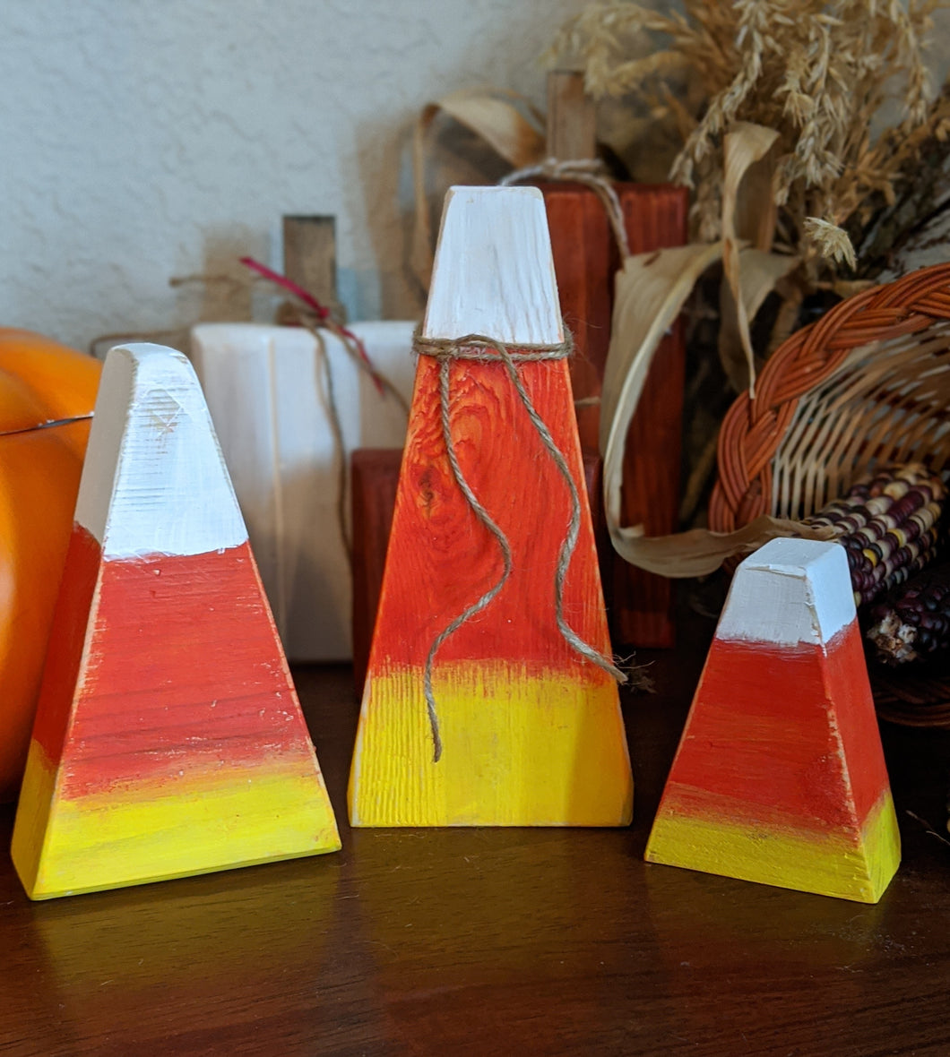 Wood Candy Corn, Set of 3
