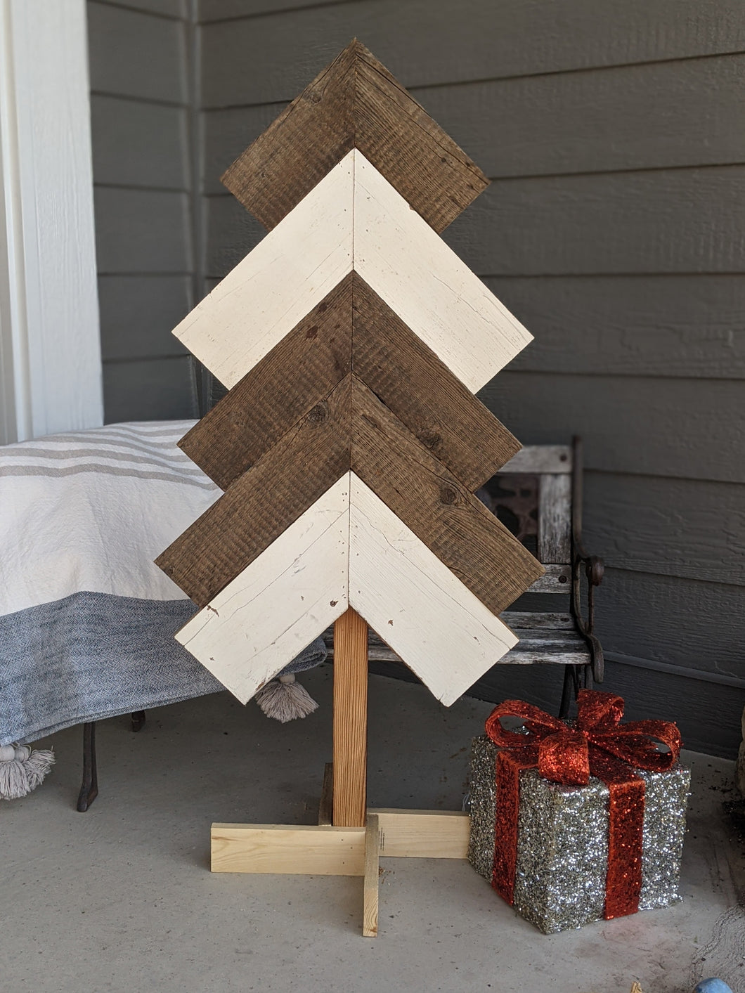 White & Natural Wood Tree