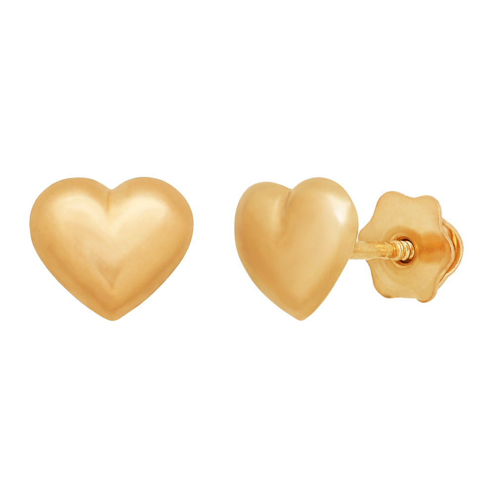 Puffed Heart 14k Gold - Screwback