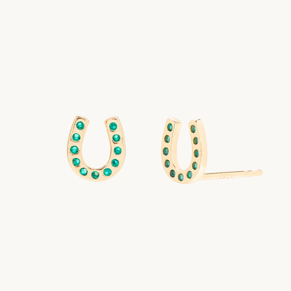 Horseshoe 14k Gold Stud Earrings
