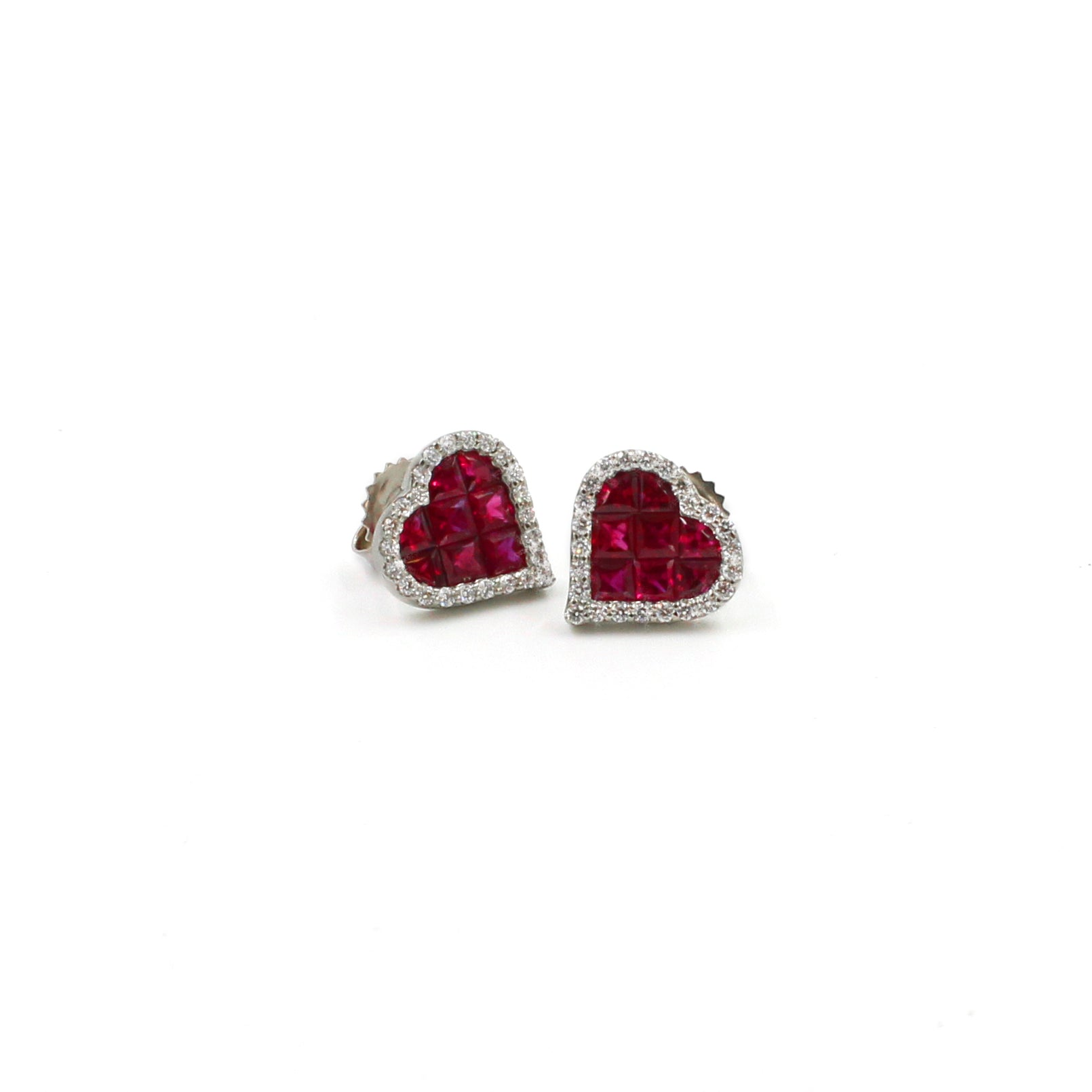 Fine Jewelry Collection: Ruby & Diamond Heart Stud Earrings