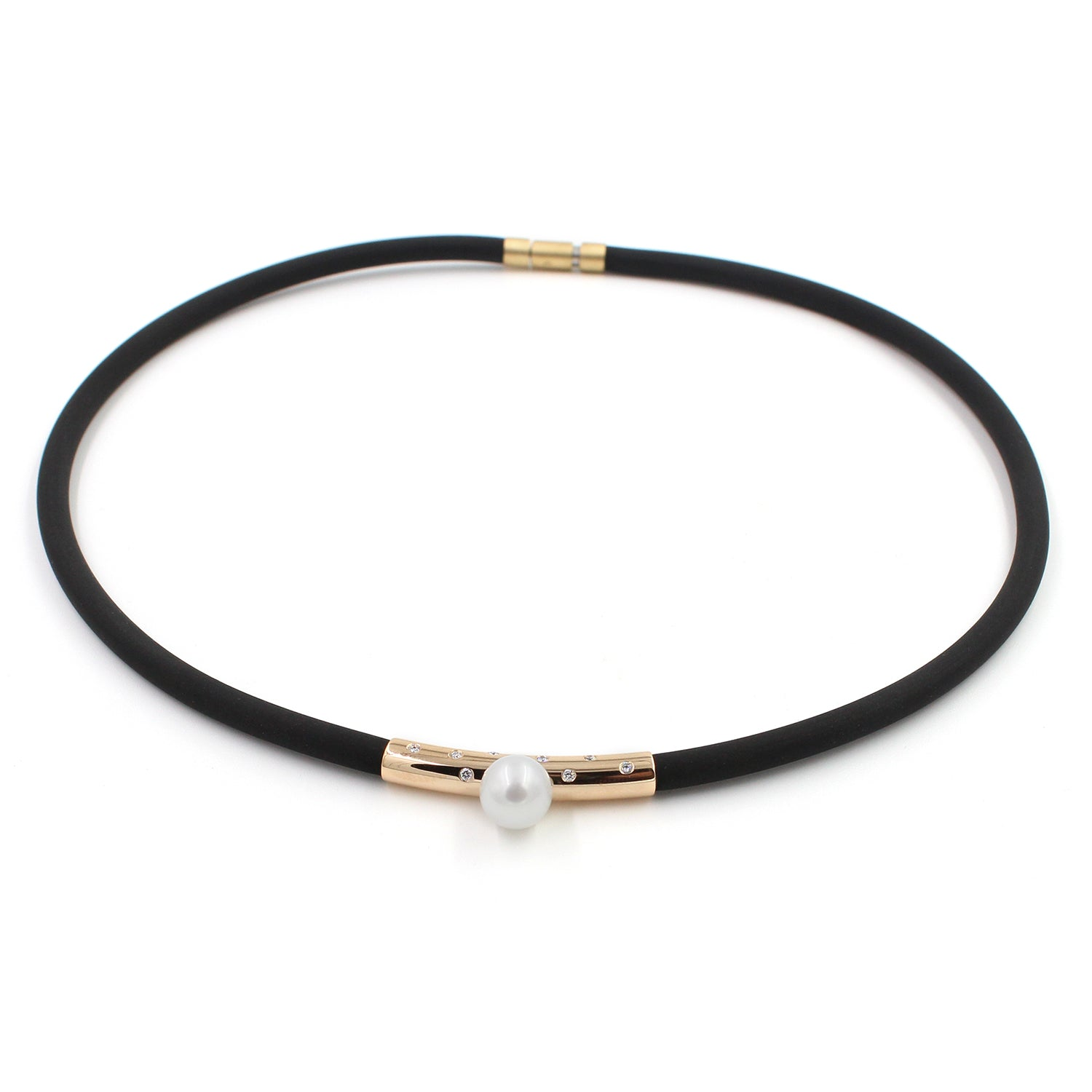 Fine Jewelry Collection: Rose Gold, Diamond & Pearl Rubber Necklace