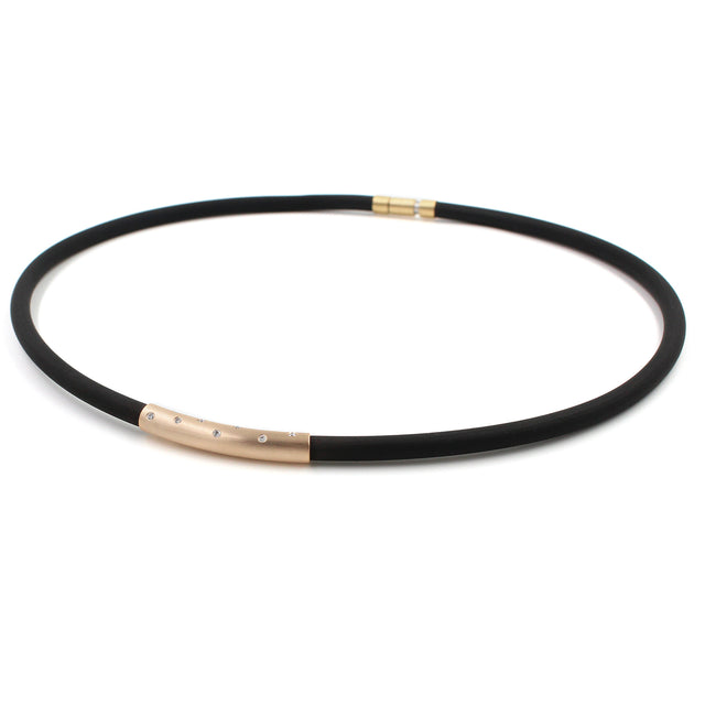 Fine Jewelry Collection: Rose Gold & Diamond Rubber Necklace