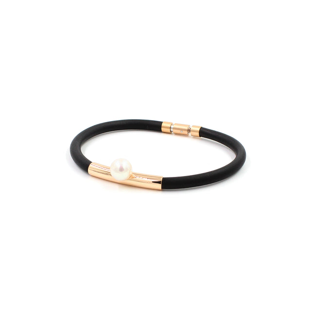Fine Jewelry Collection: Rubber Bracelet with Rose Gold & Pearl