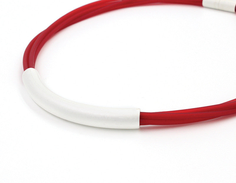 8988.36 Red PVC Multi-Strand Necklace w/Silver