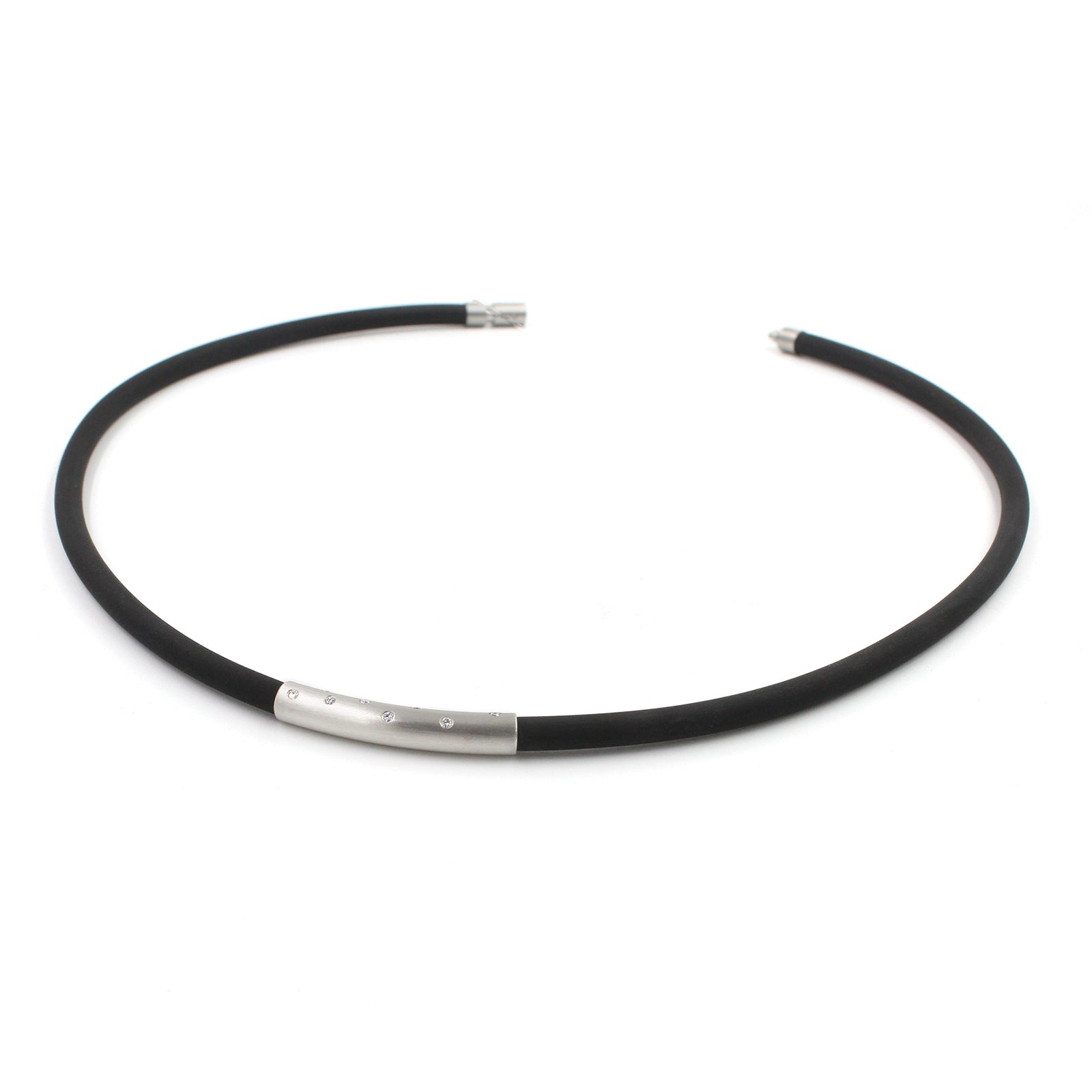 Fine Jewelry Collection: Rubber Necklace w/Platinum & Diamonds