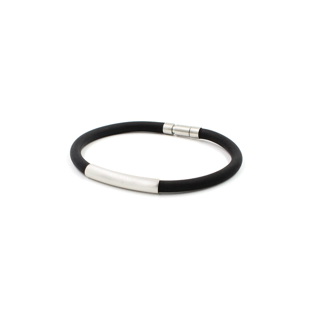 Fine Jewelry Collection: Rubber Bracelet with Platinum