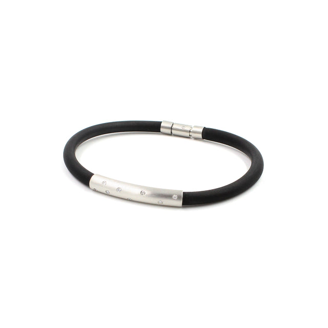Fine Jewelry Collection: Rubber Bracelet with Platinum & Diamonds
