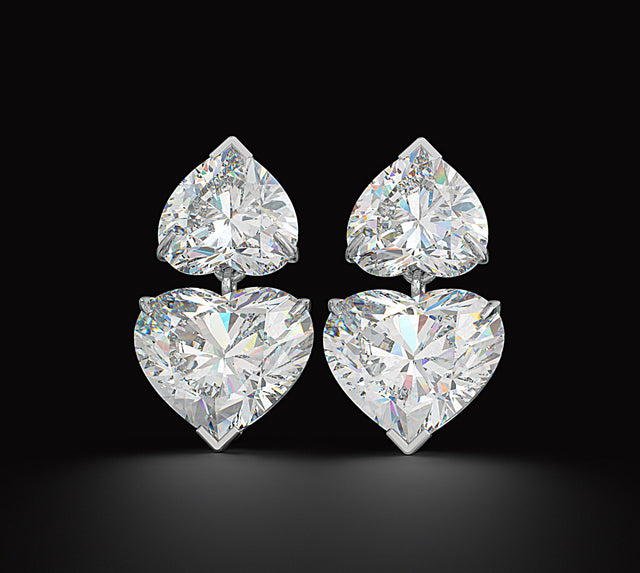 Fine Jewelry Collection: Double Heart Diamond Earrings