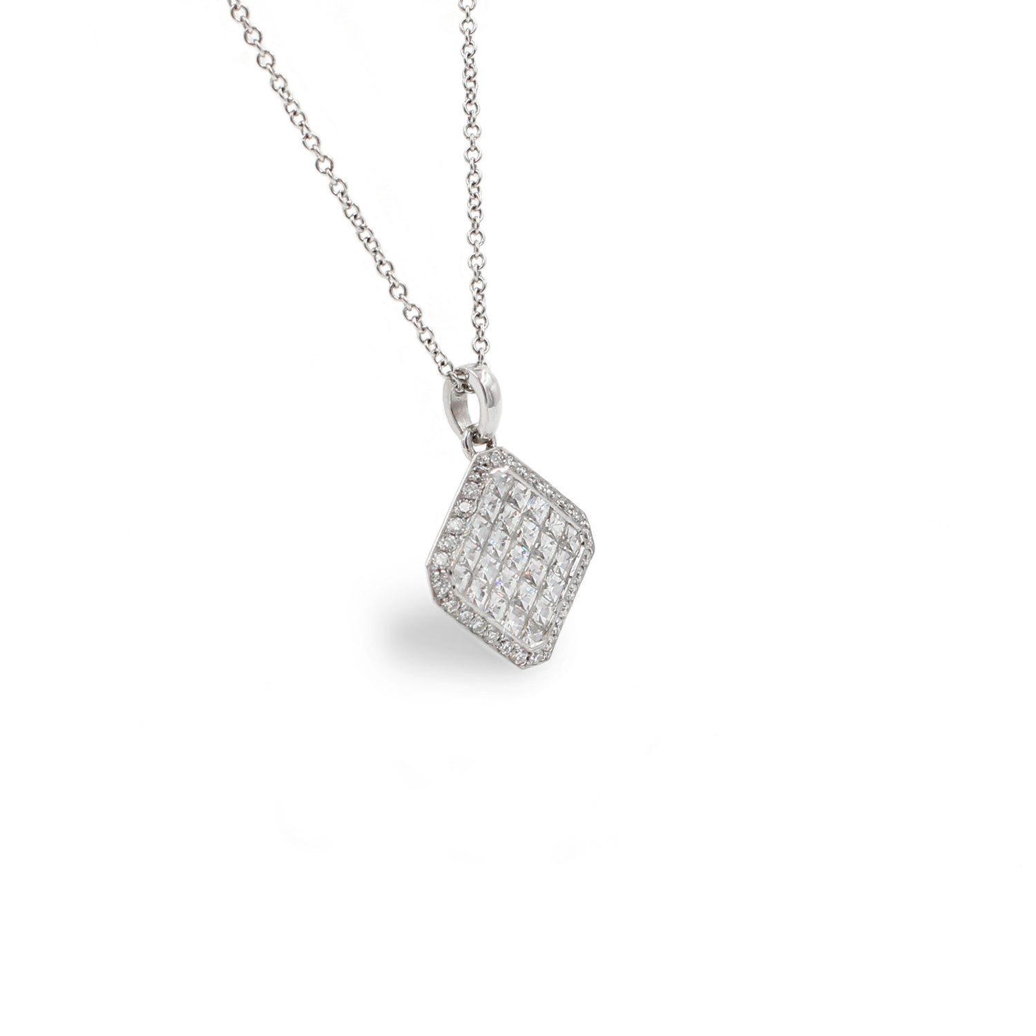 Fine Jewelry Collection: Large Asscher Shaped Diamond Pendant Necklace