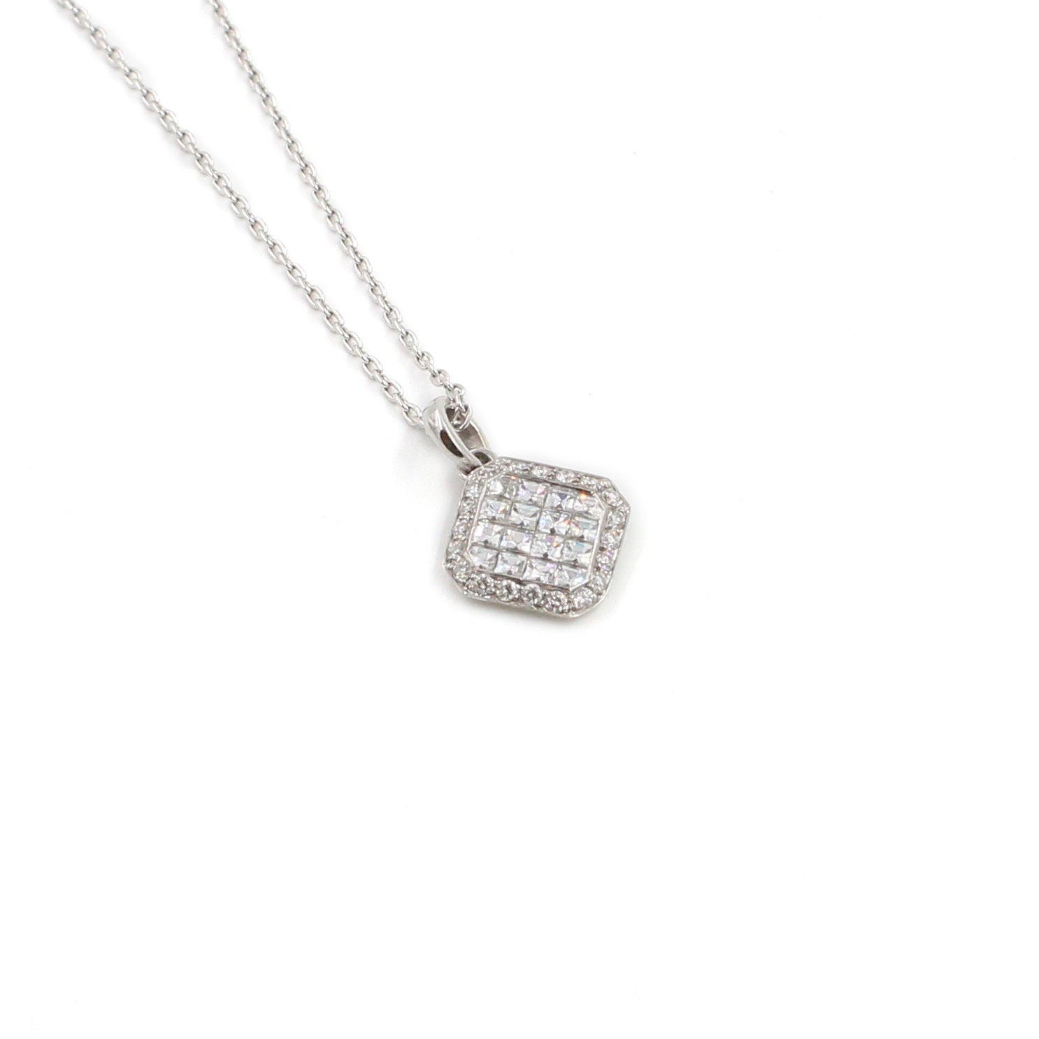 Fine Jewelry Collection: Asscher Shaped Diamond Pendant Necklace