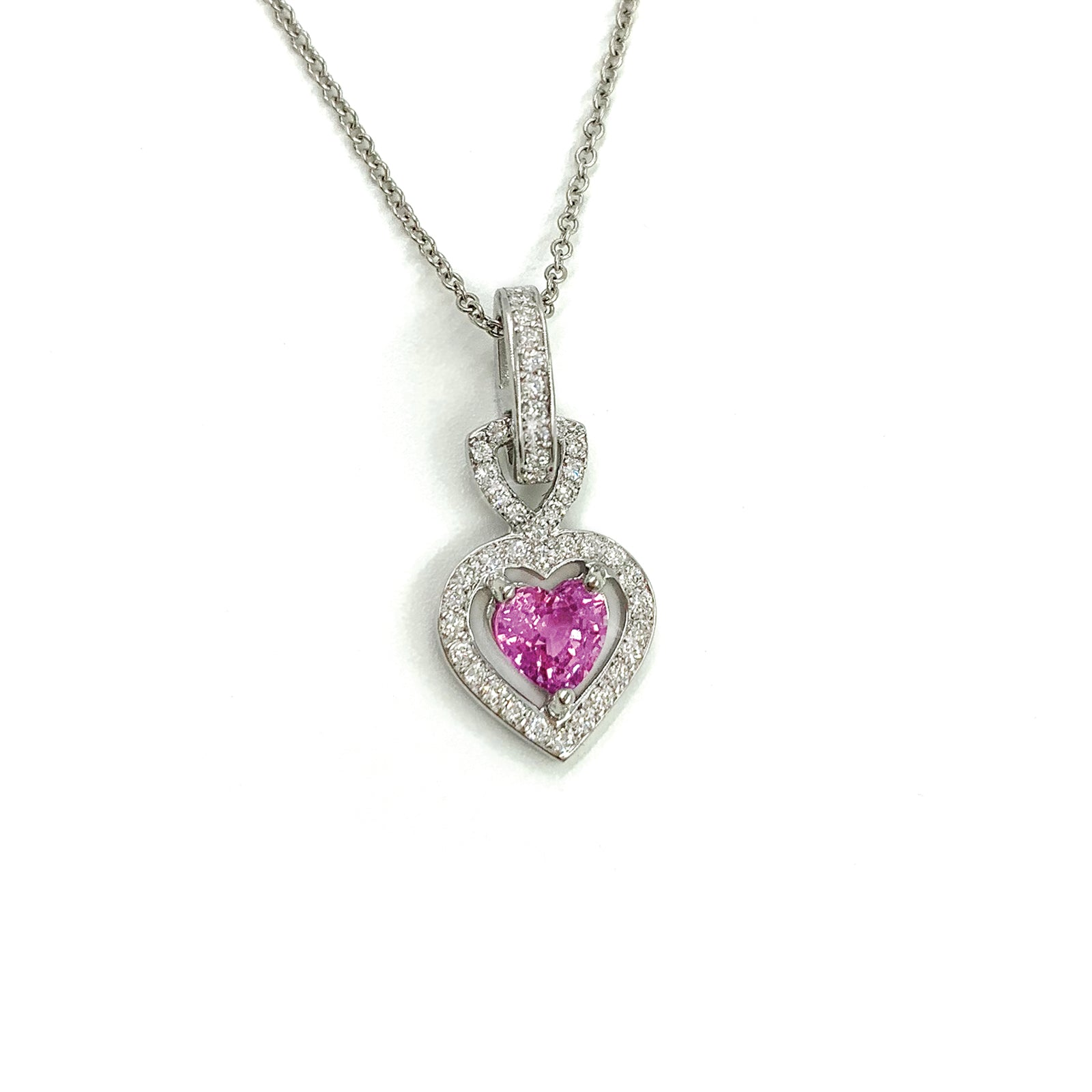Fine Jewelry Collection: Window Heart Pink Sapphire & Diamond Pendant Necklace