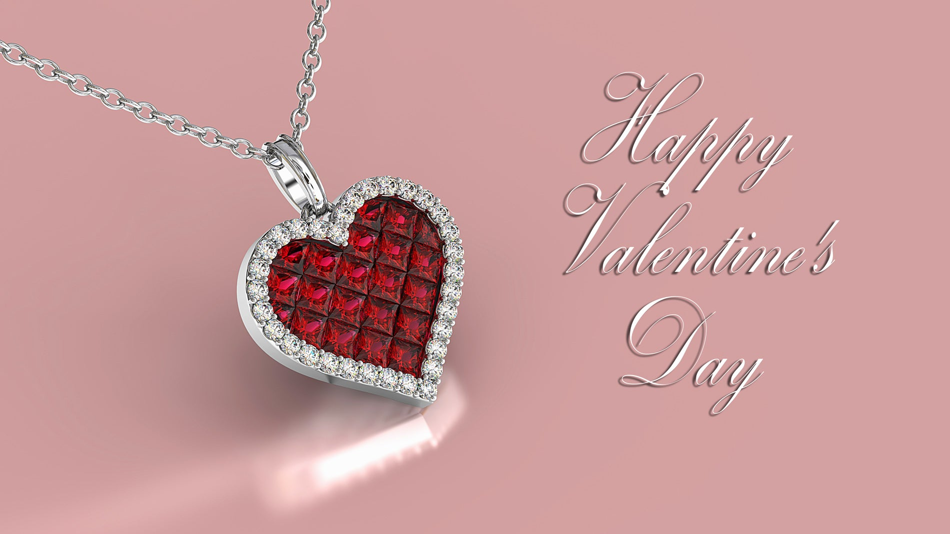Fine Jewelry Collection: Ruby & Diamond Heart Pendant Necklace