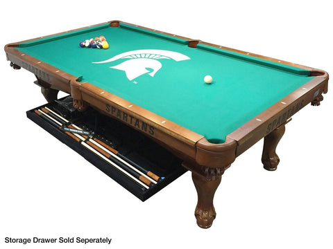 Holland Gameroom Michigan State University Logo Billiard Cloth Laser Engraved Pool Table with Storage Drawer