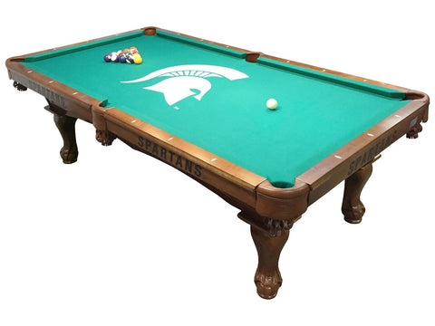 Holland Gameroom Michigan State University Logo Billiard Cloth Laser Engraved Pool Table