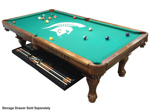 Holland Gameroom Michigan State Billiard Table with Storage Drawer