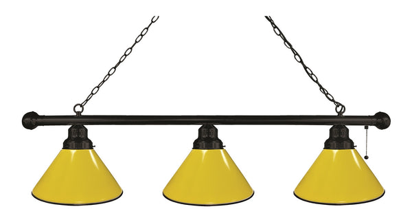 Yellow Non-Logo 3 Shade Billiard Light