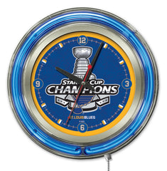 "15"" St. Louis Blues Stanley Cup Neon Clock"