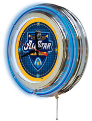 "15"" Double Neon 2020 All Star Game Neon Clock Side View"