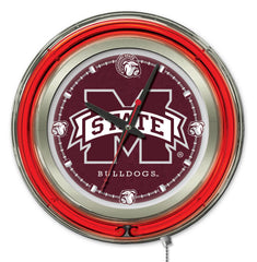 "Mississippi State University Bulldogs 15"" Neon Clock"
