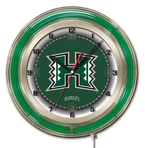 "19"" Hawaii Rainbow Warriors Neon Clock"