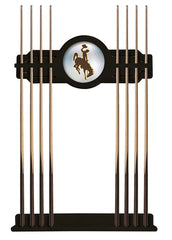 University of Wyoming Cue Rack with Black Finish