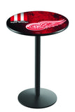 L214 Black Wrinkle Detroit Red Wings Pub Table