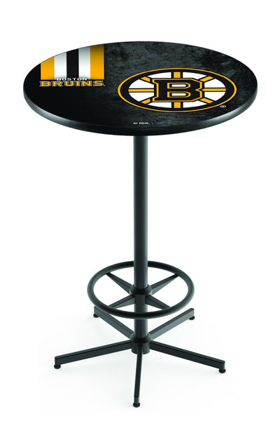 L216 Black Wrinkle Boston Bruins Pub Table