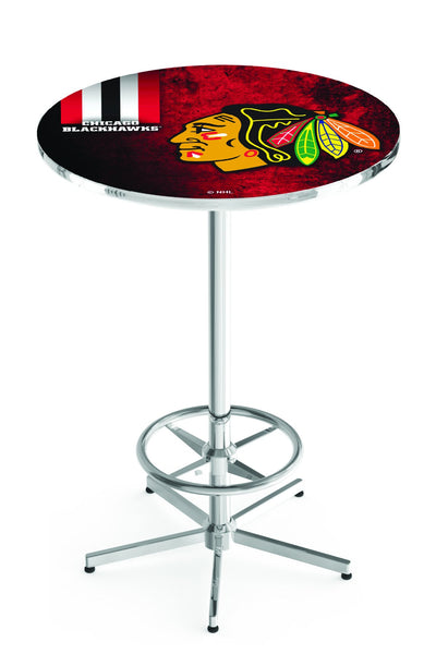 L216 Chrome Chicago Blackhawks Pub Table