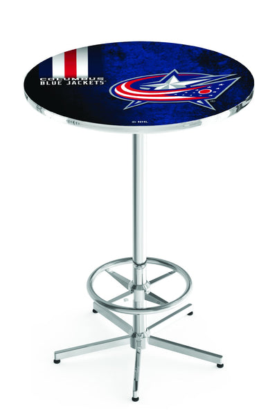L216 Chrome Columbus Blue Jackets Pub Table