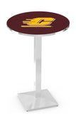 L217 Chrome Central Michigan Chippewas Pub Table