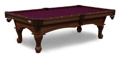 Elite-Pro Wine Non-Logo Billiard Cloth on a Navajo Finish Pool Table