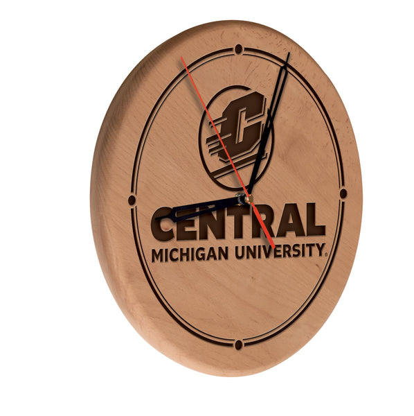 Central Michigan Chippewas Engraved Wood Clock