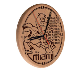 Miami Hurricanes Engraved Wood Clock