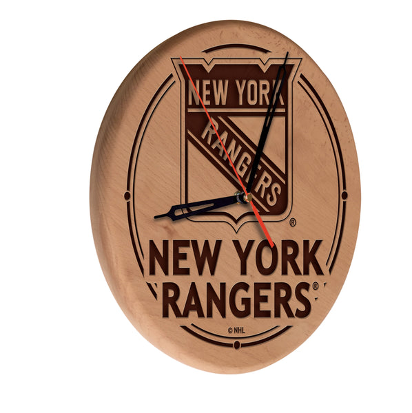 New York Rangers Engraved Wood Clock