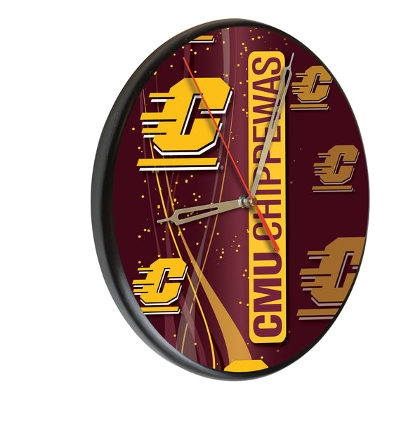 Central Michigan Chippewas Printed Wood Clock