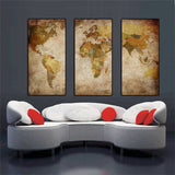 3-Panel Vintage World Map On Canvas (Unframed)