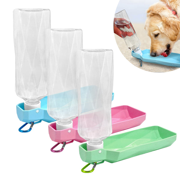 Dog Travel Water Bottle & Dispenser | 2 Sizes | Quality Bottle w Hook Clip