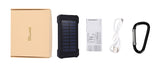 Solar Powerbank: Waterproof 10000mAh Solar Charger with 2 USB Ports for Smartphone with LED Light.