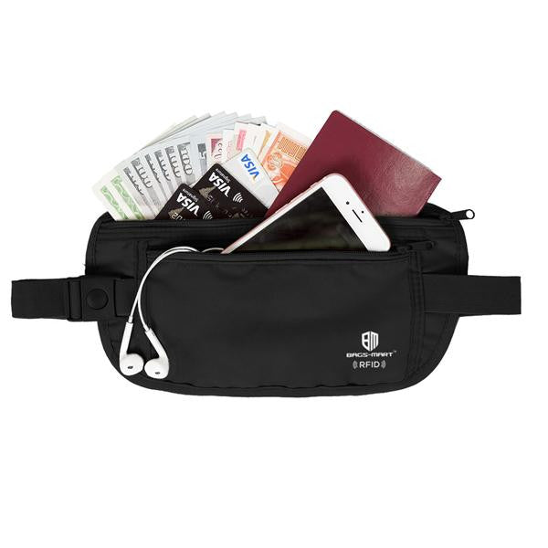 RFID Travel Waist Pack | Wear It 4-Ways RFID Blocking Travel Wallet With Waist Strap