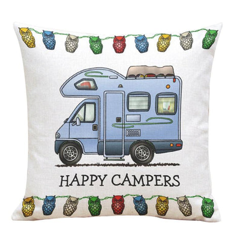 "Happy Campers Class C Motorhome | Square Linen Throw Pillow Case | 17"" x 17"""