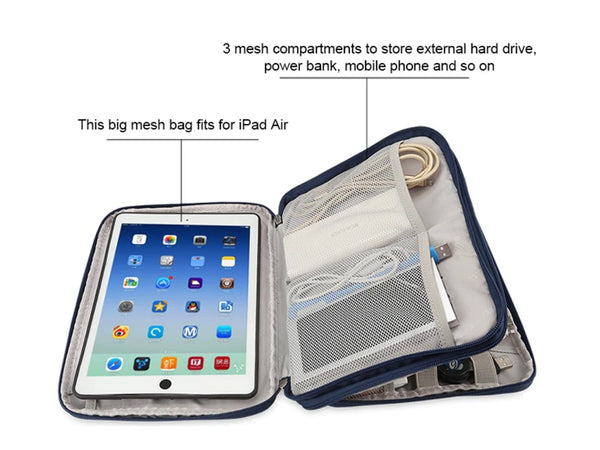 iPad And Universal Electronics Accessories Travel Case | Protective Sleeve LARGE for iPad Air or SMALL for iPad Mini